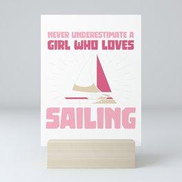 A girl who loves Sailing Mini Art Print