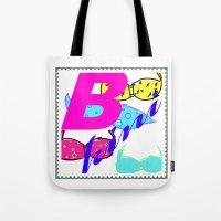 bikini Tote Bags featuring bikini by Mike van der Hoorn