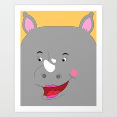 Rhino Female in Love Looking to the Left Art Print
