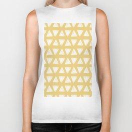 Mustard yellow white hand painted geometrical triangles Biker Tank