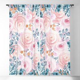 Blush pink blue coral watercolor hand painted floral Blackout Curtain