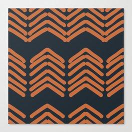 Zora's Chevron Pattern - Copper on Navy Canvas Print