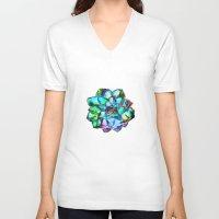 succulent V-neck T-shirts featuring Succulent by Klara Acel