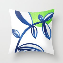 Blue and lime green minimalist leaves Throw Pillow