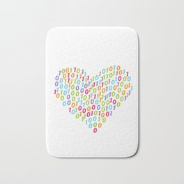 Binary Heart Colorful Bath Mat