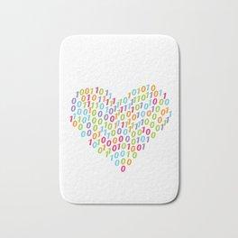 Binary Heart Colorful Bath Mat