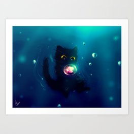 Kitten in the Water with a Bubble Art Print