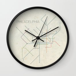 Minimal Philadephia Subway Map Wall Clock