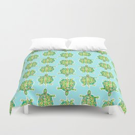Tortoise Pattern with aqua background Duvet Cover