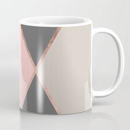 Modern pastel pink gray color block rose gold stripes Coffee Mug