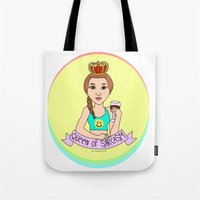 sarcasm Tote Bags featuring Queen of sarcasm by bylosangeles