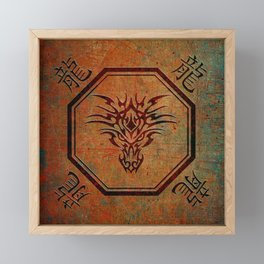 Tribal Dragon Head In Octagon With Dragon Chinese Characters Framed Mini Art Print