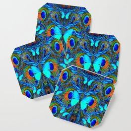 ELECTRIC NEON BLUE BUTTERFLIES & BLUE PEACOCK FEATHERS Coaster