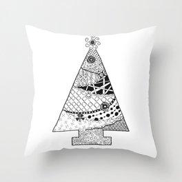Doodle Christmas Tree Throw Pillow