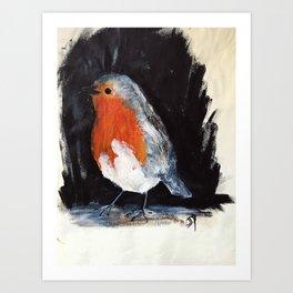 Robin Wild UK Garden Bird Acrylics On Paper Art Print