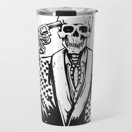 Suicide skeleton illustration Travel Mug