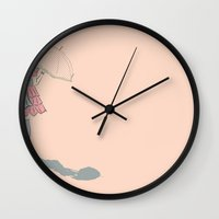 eugenia loli Wall Clocks featuring Loli shadowcast by Nicole Dobbins