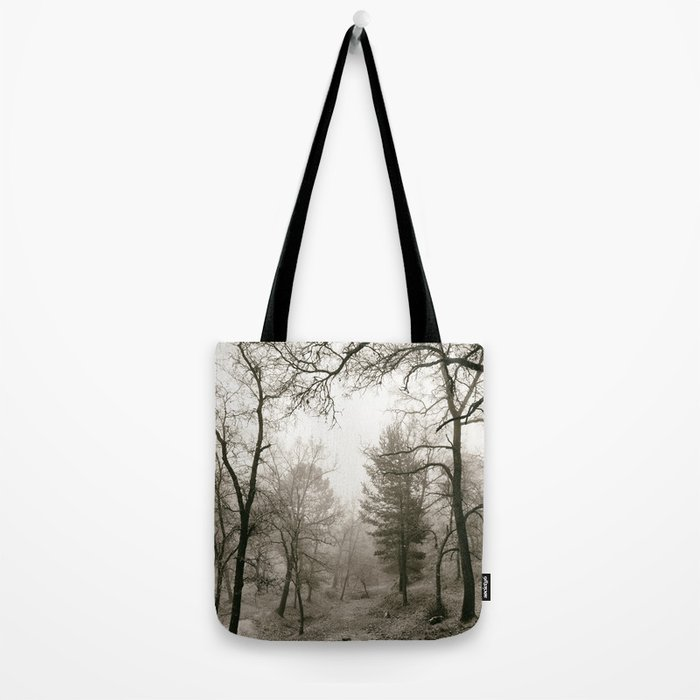 """Into the woods IV"". Foggy forest Tote Bag"
