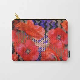 Summer Joy, abstract waves with poppies Carry-All Pouch
