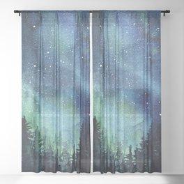 Galaxy Watercolor Aurora Borealis Painting Sheer Curtain