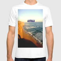 Sunset glowing on the limestone Cliffs White Mens Fitted Tee MEDIUM