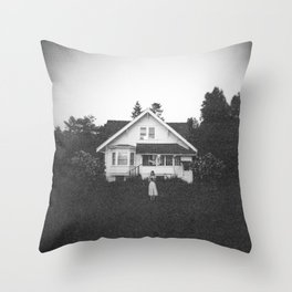 Ghostly Girl in the Garden - Holga Black and White Photograph Throw Pillow