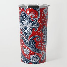 Red White & Blue Floral Paisley Travel Mug