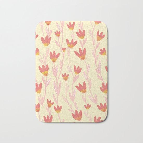 Red Tulips Pattern Bath Mat