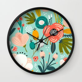 Mid-Century Modern Floral Print With Trendy Leaves Wall Clock