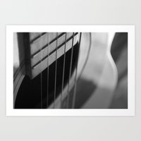 guitar Art Prints featuring Guitar by Mary Curtis