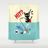 fishing Shower Curtains featuring Fishing by BATKEI