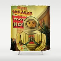 spaceman Shower Curtains featuring Spaceman Vacation by Shannon Betz