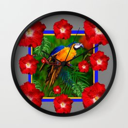 GREY RED HIBISCUS GOLD MACAW JUNGLE ART Wall Clock