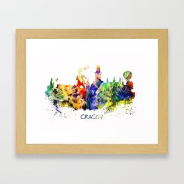 Cracow skyline color Framed Art Print