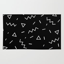 Inverted Black and White Zig Zag Print Rug