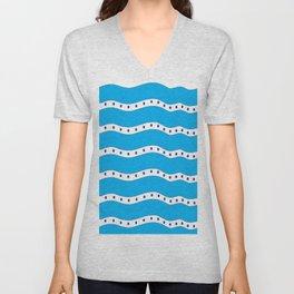 Coastal Pattern Blue Ocean Unisex V-Neck
