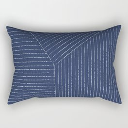 Lines / Navy Rectangular Pillow