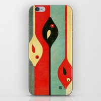 fish iPhone & iPod Skins featuring Three Fish in My Mind by Fernando Vieira