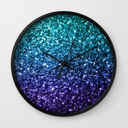 Beautiful Aqua blue Ombre glitter sparkles Wall Clock