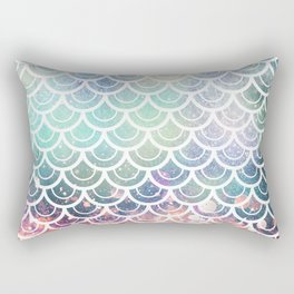 Mermaid Scales Coral and Turquoise Rectangular Pillow