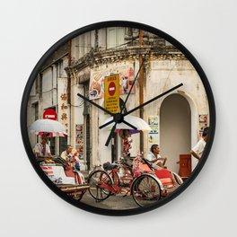Trishaw Break II - George Town, Penang  Wall Clock