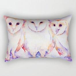 Watercolor Barn Owl Family 3 Barn Owls Abstract Rectangular Pillow