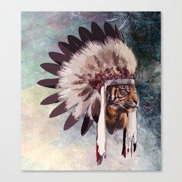 Tiger in war bonnet Canvas Print