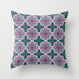 Floral ornamet tile Throw Pillow