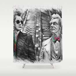 Crowley and Aziraphale Ineffable Husbands Rainbow Ties Shower Curtain