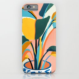 Nature Doesn't Hurry Yet All Is Accomplished, Colorful Botanical Plant Pot Illustration Tropical iPhone Case
