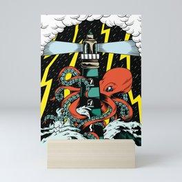 Octopus storm Mini Art Print