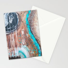 teal and brown acoustic guitar Stationery Cards