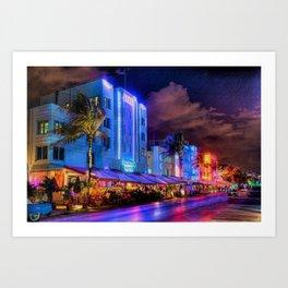 South Beach Miami City Lights by Jeanpaul Ferro Art Print
