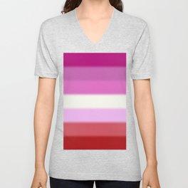 Lesbian Pride Flag v2 Unisex V-Neck